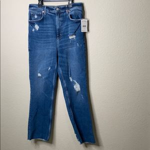 Free People High Waist Straight Distress Jeans